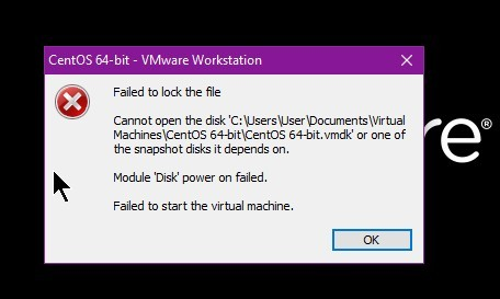 Module 'Disk' power on failed.Failed to start the virtual machine.